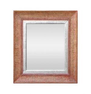 1950's Antique Wall Mirror, Polychrome & Silvered Wood
