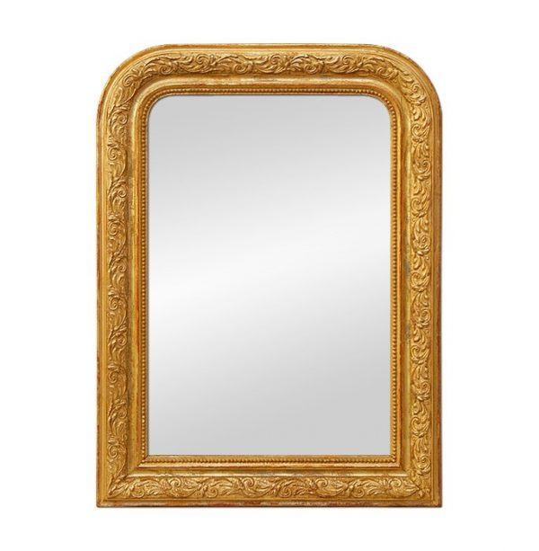 Louis-Philippe Style Giltwood Mirror with Leaves Decoration, circa 1900