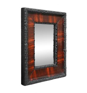 Small-antique-black-mirror-with-imitation-mahogany-wood