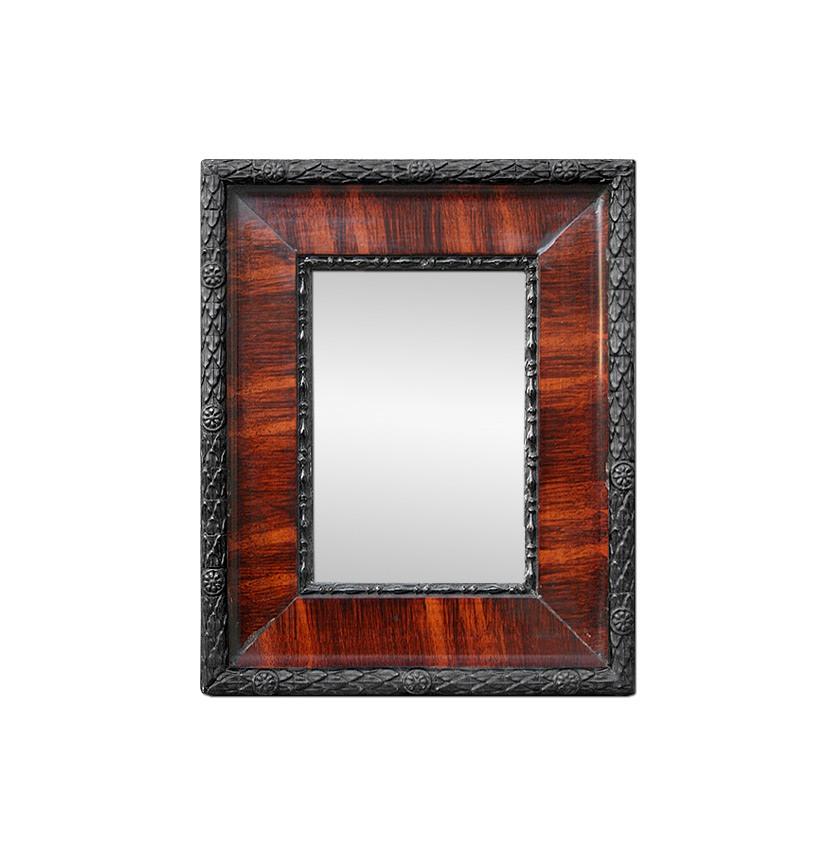Small-antique-black-mirror-with-imitation-mahogany-wood-circa-1880