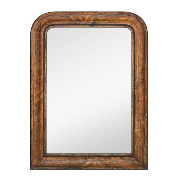 Antique Louis-Philippe Style Mirror, Imitation Wood Decor Painted