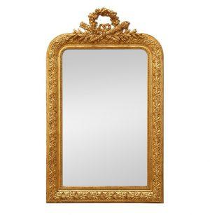 Antique Napoleon III Style Giltwood Mirror with Pediment