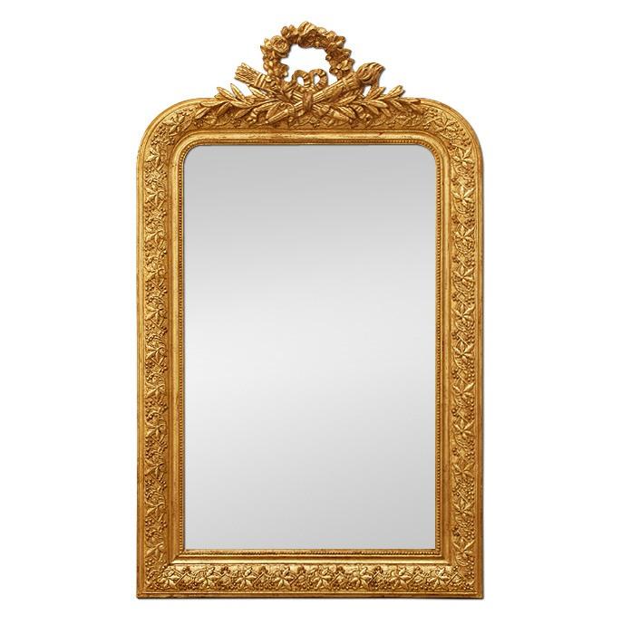 antique-Napoleon-III-style-giltwood-mirror-with-pediment