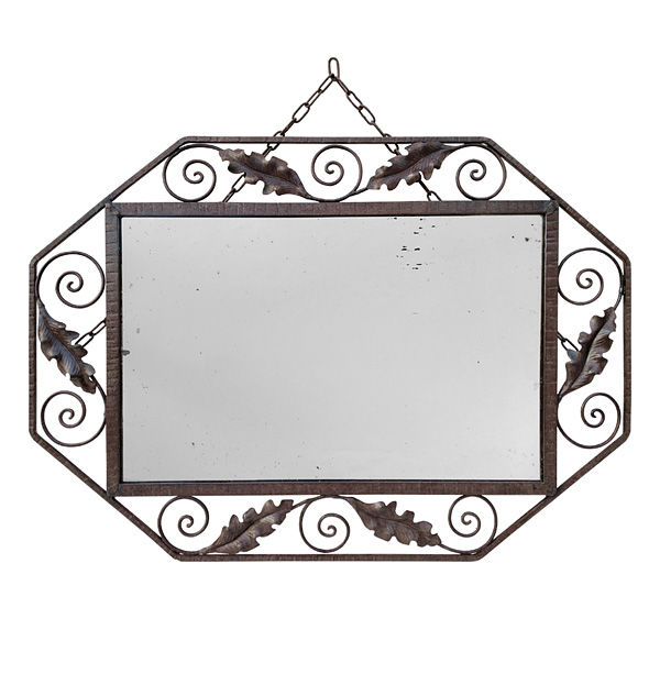 Antique Art Deco Octagonal Wrought Iron Mirror, 1932