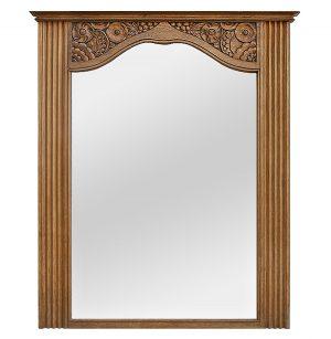 Antique Carved Natural Oak Trumeau Mirror, circa 1940