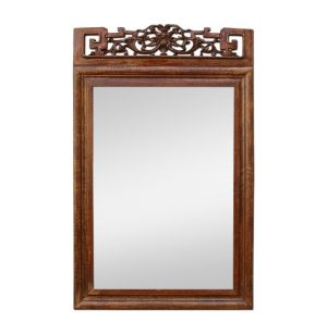 Antique Carved Wood Mirror with an Asian Style Pediment