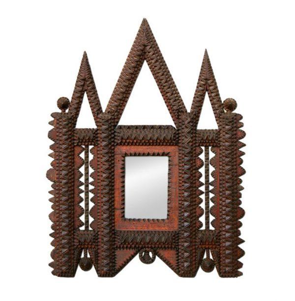Oriental Inspiration Carved Wood Mirror, circa 1900