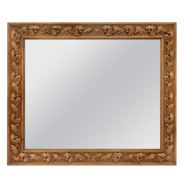 Antique French Carved Wood Mirror, circa 1930