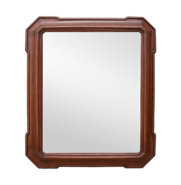 Antique Mahogany Dark Stained Wooden Mirror, Late 19th Century