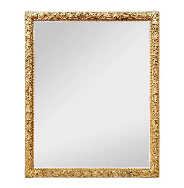 Antique French Giltwood Mirror, 17th Century Style Ornaments, circa 1930