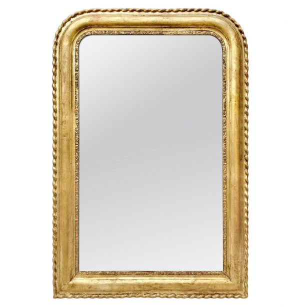 Antique French Giltwood Mirror, Louis-Philippe Style, circa 1890