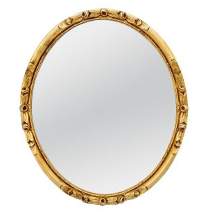 Antique French Giltwood Oval Mirror, circa 1930