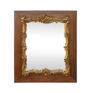 Antique French Mirror Louis XV Style, Giltwood & Natural Wood