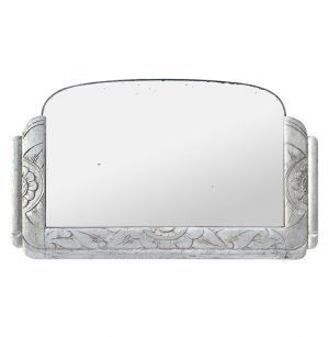 Antique French Mirror Silver Wood Art Deco Style, circa 1940