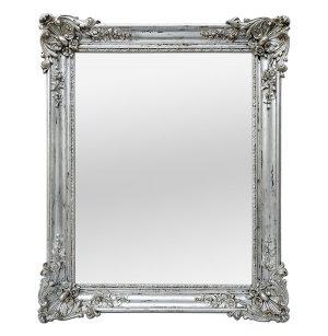Antique French Mirror Silver Wood Louis XV Style, circa 1890