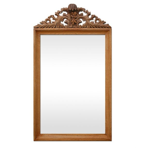 Antique French Mirror with Carved Wood Pediment, circa 1940