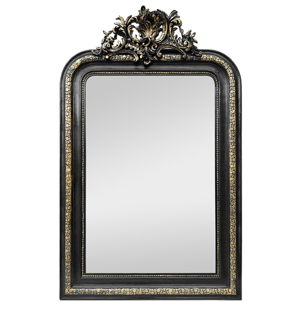 Antique French Mirror with Pediment, Black and Gilt, circa 1880