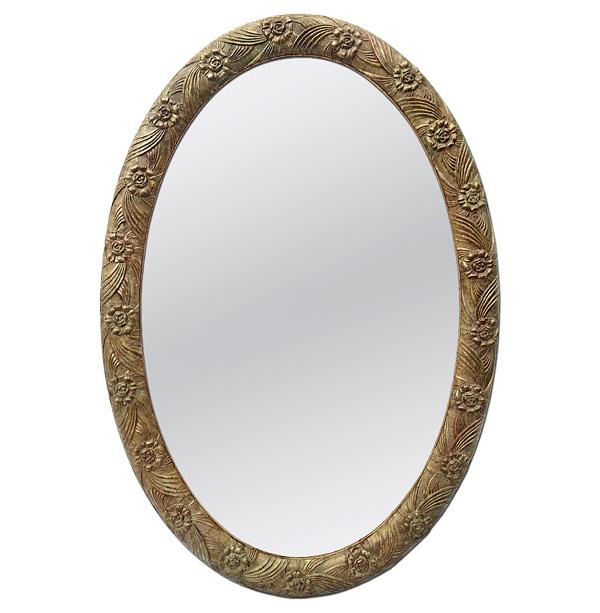 Antique French Oval Mirror, Art Deco, circa 1930