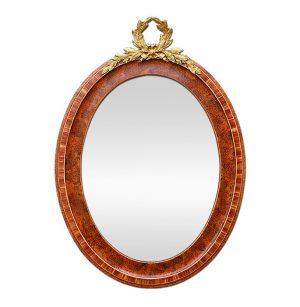 French Oval Mirror, Gilded Bronze Pediment, circa 1920