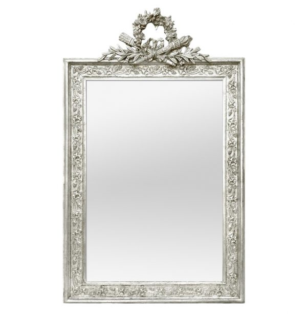 Antique French Silverwood Wall Mirror with Pediment, circa 1900