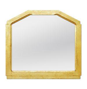 Antique Giltwood Mirror Geometric Shape, circa 1950
