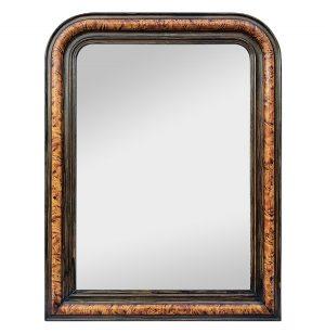Antique Louis-Philippe Style Mirror, Faux Burl Wood, circa 1880