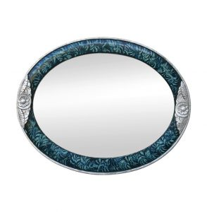 Antique Oval Mirror Art Deco Style, Silver Wood & Turquoise Color