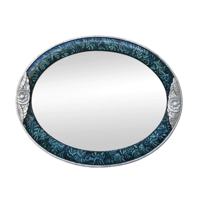 antique-oval-mirror-Art-Deco-style-silver-wood-color-turquoise