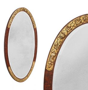 antique-oval-mirror-gilded-floral-ornaments-Art-deco-style