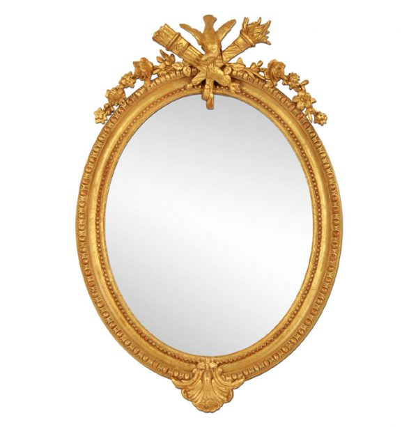 French Antique Oval Mirror, Giltwood, 19th Century