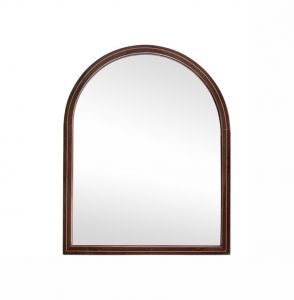 Antique Rounded Shape Mahogany Veneer Mirror, circa 1900