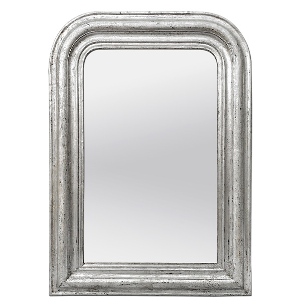 Antique Silver Wood Mirror Louis-Philippe Style, circa 1890