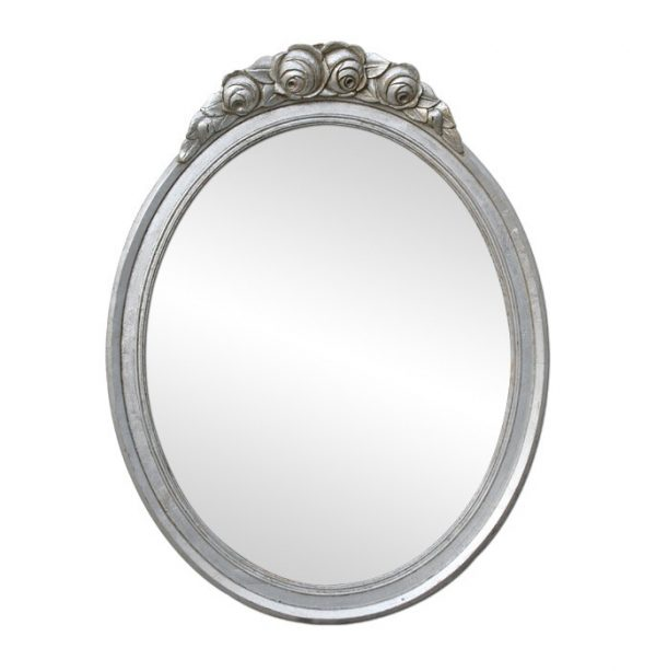 Antique Silver Wood Oval Mirror, Art Deco Style