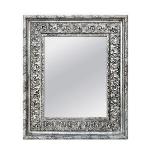 Antique Silver Wood Mirror, Baroque Style, circa 1930
