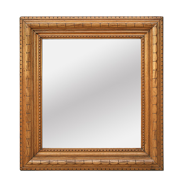 Brittany Style Antique Carved Oak Wood Mirror, circa 1900