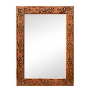 Oriental Style Carved Wood Mirror, Early 20th Century