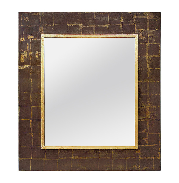 French 1970s Wall Mirror, Giltwood and Brown Colors, circa 1970