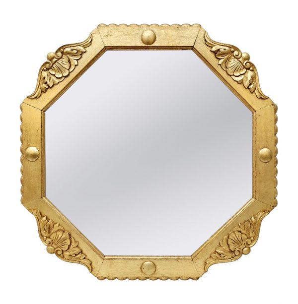 French Antique Octagonal Giltwood Mirror, circa 1940