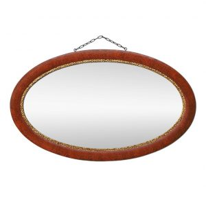 French Antique Oval Mirror, Painted Wood & Gilding, circa 1930
