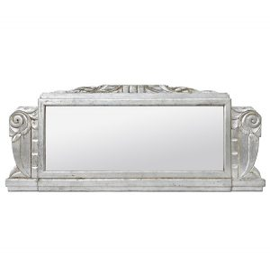 Large Antique French Mirror Silver Wood Art Deco Style, circa 1940