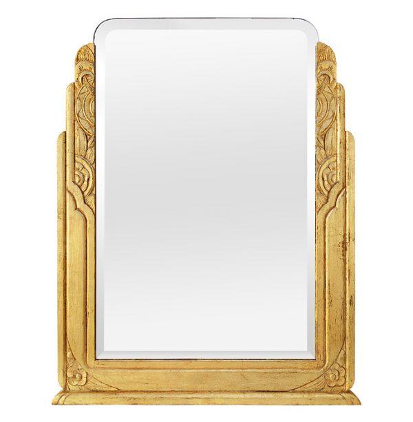 Large Antique Giltwood Mirror, Art Deco Style, circa 1940
