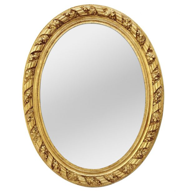 Large Antique Oval French Giltwood Mirror, circa 1880
