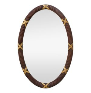 Large Antique Oval Mirror, Carved Wood and Gilding, circa 1950