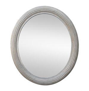 Large Antique Silver Oval Mirror, circa 1930
