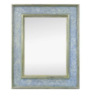 Contemporary Wall Mirror, Blue Colors & Silvered by Atelier RTCD – Paris