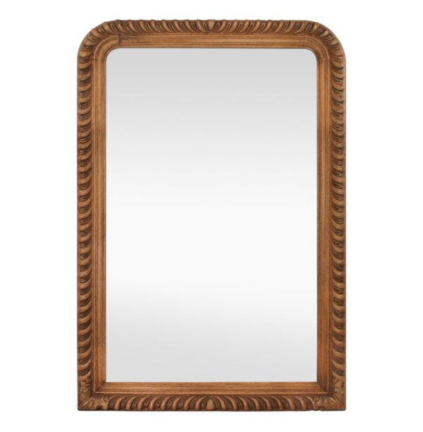 Large French Antique Mirror, Carved Oak Wood, 19th Century
