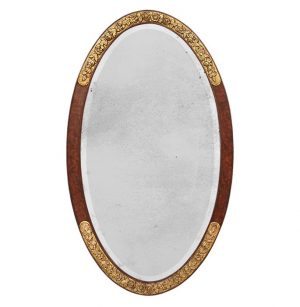 Large French Antique Oval Mirror, circa 1925