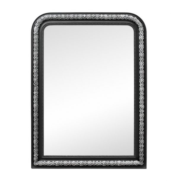 Large Napoleon III Style Fireplace Mirror, Black & Silvered