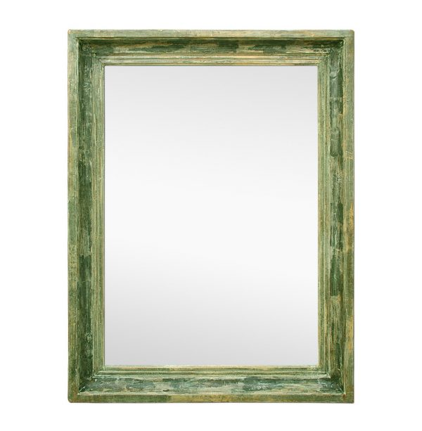 Large Antique French Mirror Green Patinated Barbizon Style