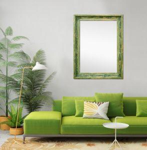 living-room-vintage-green-wall-mirror